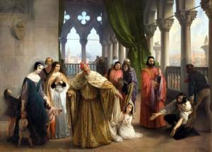 L'ultimo abboccamento di Giacomo Foscari  figlio del doge Giuseppe con la propria famiglia prima di partire per l'esilio cui era stato condannato di Francesco Hayez, 1840