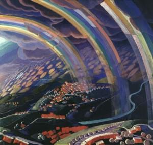 Gerardo Dottori, Paesaggio con tre arcobaleni visto dall'alto - Miracolo di luci volando, 1932