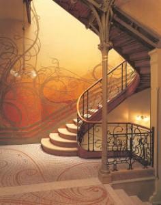 La celebre scala d'ingresso di Casa Tassel di Victor Horta a Bruxelles